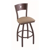 "830 Voltaire 30"" Bar Stool with Bronze Finish, Rein Thatch Seat, Dark Cherry Maple Back, and 360 swivel"