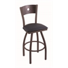 "830 Voltaire 36"" Bar Stool with Bronze Finish, Allante Dark Blue Seat, Dark Cherry Oak Back, and 360 swivel"