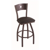 "830 Voltaire 30"" Bar Stool with Bronze Finish, Allante Espresso Seat, Dark Cherry Oak Back, and 360 swivel"