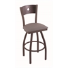 "830 Voltaire 30"" Bar Stool with Bronze Finish, Allante Dark Cherry Grey Seat, Dark Cherry Oak Back, and 360 swivel"