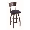 "830 Voltaire 30"" Bar Stool with Bronze Finish, Axis Denim Seat, Dark Cherry Oak Back, and 360 swivel"
