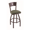 "830 Voltaire 36"" Bar Stool with Bronze Finish, Axis Grove Seat, Dark Cherry Oak Back, and 360 swivel"