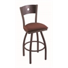 "830 Voltaire 36"" Bar Stool with Bronze Finish, Axis Paprika Seat, Dark Cherry Oak Back, and 360 swivel"