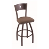 "830 Voltaire 30"" Bar Stool with Bronze Finish, Axis Willow Seat, Dark Cherry Oak Back, and 360 swivel"