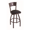 "830 Voltaire 30"" Bar Stool with Bronze Finish, Black Vinyl Seat, Dark Cherry Oak Back, and 360 swivel"