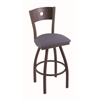 "830 Voltaire 36"" Bar Stool with Bronze Finish, Rein Bay Seat, Dark Cherry Oak Back, and 360 swivel"