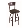 "830 Voltaire 36"" Bar Stool with Bronze Finish, Rein Coffee Seat, Dark Cherry Oak Back, and 360 swivel"