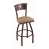 "830 Voltaire 36"" Bar Stool with Bronze Finish, Rein Thatch Seat, Dark Cherry Oak Back, and 360 swivel"