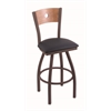 "830 Voltaire 30"" Bar Stool with Bronze Finish, Allante Dark Blue Seat, Medium Maple Back, and 360 swivel"