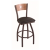 "830 Voltaire 30"" Bar Stool with Bronze Finish, Allante Espresso Seat, Medium Maple Back, and 360 swivel"