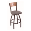 "830 Voltaire 36"" Bar Stool with Bronze Finish, Allante Medium Grey Seat, Medium Maple Back, and 360 swivel"