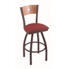 "830 Voltaire 30"" Bar Stool with Bronze Finish, Allante Wine Seat, Medium Maple Back, and 360 swivel"