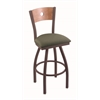 "830 Voltaire 30"" Bar Stool with Bronze Finish, Axis Grove Seat, Medium Maple Back, and 360 swivel"
