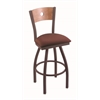 "830 Voltaire 36"" Bar Stool with Bronze Finish, Axis Paprika Seat, Medium Maple Back, and 360 swivel"