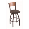"830 Voltaire 30"" Bar Stool with Bronze Finish, Axis Truffle Seat, Medium Maple Back, and 360 swivel"