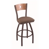 "830 Voltaire 36"" Bar Stool with Bronze Finish, Axis Willow Seat, Medium Maple Back, and 360 swivel"