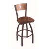 "830 Voltaire 25"" Counter Stool with Bronze Finish, Rein Adobe Seat, Medium Maple Back, and 360 swivel"