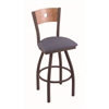 "830 Voltaire 25"" Counter Stool with Bronze Finish, Rein Bay Seat, Medium Maple Back, and 360 swivel"