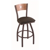 "830 Voltaire 30"" Bar Stool with Bronze Finish, Rein Coffee Seat, Medium Maple Back, and 360 swivel"