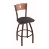 "830 Voltaire 36"" Bar Stool with Bronze Finish, Allante Dark Blue Seat, Medium Oak Back, and 360 swivel"