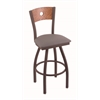 "830 Voltaire 36"" Bar Stool with Bronze Finish, Allante Medium Grey Seat, Medium Oak Back, and 360 swivel"