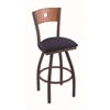 "830 Voltaire 30"" Bar Stool with Bronze Finish, Axis Denim Seat, Medium Oak Back, and 360 swivel"