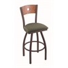 "830 Voltaire 36"" Bar Stool with Bronze Finish, Axis Grove Seat, Medium Oak Back, and 360 swivel"