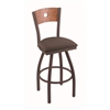 "830 Voltaire 30"" Bar Stool with Bronze Finish, Axis Truffle Seat, Medium Oak Back, and 360 swivel"