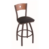 "830 Voltaire 25"" Counter Stool with Bronze Finish, Black Vinyl Seat, Medium Oak Back, and 360 swivel"