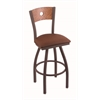 "830 Voltaire 25"" Counter Stool with Bronze Finish, Rein Adobe Seat, Medium Oak Back, and 360 swivel"