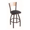"830 Voltaire 25"" Counter Stool with Bronze Finish, Allante Dark Blue Seat, Natural Maple Back, and 360 swivel"