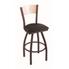 "830 Voltaire 30"" Bar Stool with Bronze Finish, Allante Espresso Seat, Natural Maple Back, and 360 swivel"