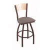 "830 Voltaire 36"" Bar Stool with Bronze Finish, Allante Medium Grey Seat, Natural Maple Back, and 360 swivel"
