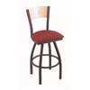 "830 Voltaire 30"" Bar Stool with Bronze Finish, Allante Wine Seat, Natural Maple Back, and 360 swivel"