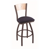 "830 Voltaire 30"" Bar Stool with Bronze Finish, Axis Denim Seat, Natural Maple Back, and 360 swivel"