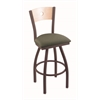 "830 Voltaire 30"" Bar Stool with Bronze Finish, Axis Grove Seat, Natural Maple Back, and 360 swivel"