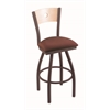 "830 Voltaire 25"" Counter Stool with Bronze Finish, Axis Paprika Seat, Natural Maple Back, and 360 swivel"