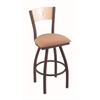 "830 Voltaire 25"" Counter Stool with Bronze Finish, Axis Summer Seat, Natural Maple Back, and 360 swivel"