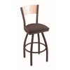 "830 Voltaire 30"" Bar Stool with Bronze Finish, Axis Truffle Seat, Natural Maple Back, and 360 swivel"