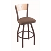 "830 Voltaire 36"" Bar Stool with Bronze Finish, Axis Willow Seat, Natural Maple Back, and 360 swivel"
