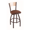 "830 Voltaire 30"" Bar Stool with Bronze Finish, Rein Adobe Seat, Natural Maple Back, and 360 swivel"