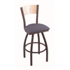"830 Voltaire 36"" Bar Stool with Bronze Finish, Rein Bay Seat, Natural Maple Back, and 360 swivel"