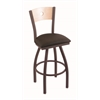 "830 Voltaire 30"" Bar Stool with Bronze Finish, Rein Coffee Seat, Natural Maple Back, and 360 swivel"