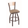 "830 Voltaire 36"" Bar Stool with Bronze Finish, Rein Thatch Seat, Natural Maple Back, and 360 swivel"