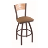 "830 Voltaire 30"" Bar Stool with Bronze Finish, Allante Beechwood Seat, Natural Oak Back, and 360 swivel"