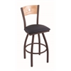 "830 Voltaire 30"" Bar Stool with Bronze Finish, Allante Dark Blue Seat, Natural Oak Back, and 360 swivel"