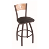"830 Voltaire 30"" Bar Stool with Bronze Finish, Allante Espresso Seat, Natural Oak Back, and 360 swivel"