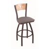 "830 Voltaire 30"" Bar Stool with Bronze Finish, Allante Medium Grey Seat, Natural Oak Back, and 360 swivel"
