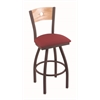 "830 Voltaire 30"" Bar Stool with Bronze Finish, Allante Wine Seat, Natural Oak Back, and 360 swivel"