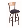 "830 Voltaire 36"" Bar Stool with Bronze Finish, Axis Denim Seat, Natural Oak Back, and 360 swivel"